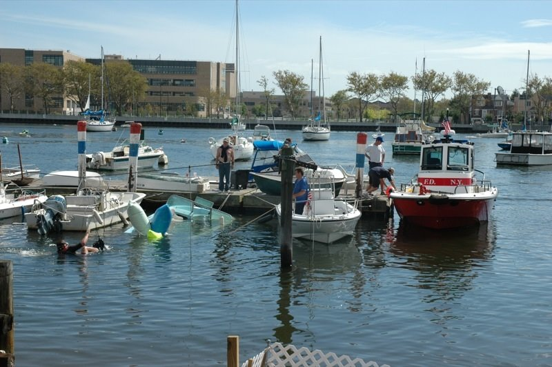 Sail brooklyn salvaging in sheepshead bay or cleaning up for Brooklyn fishing boat