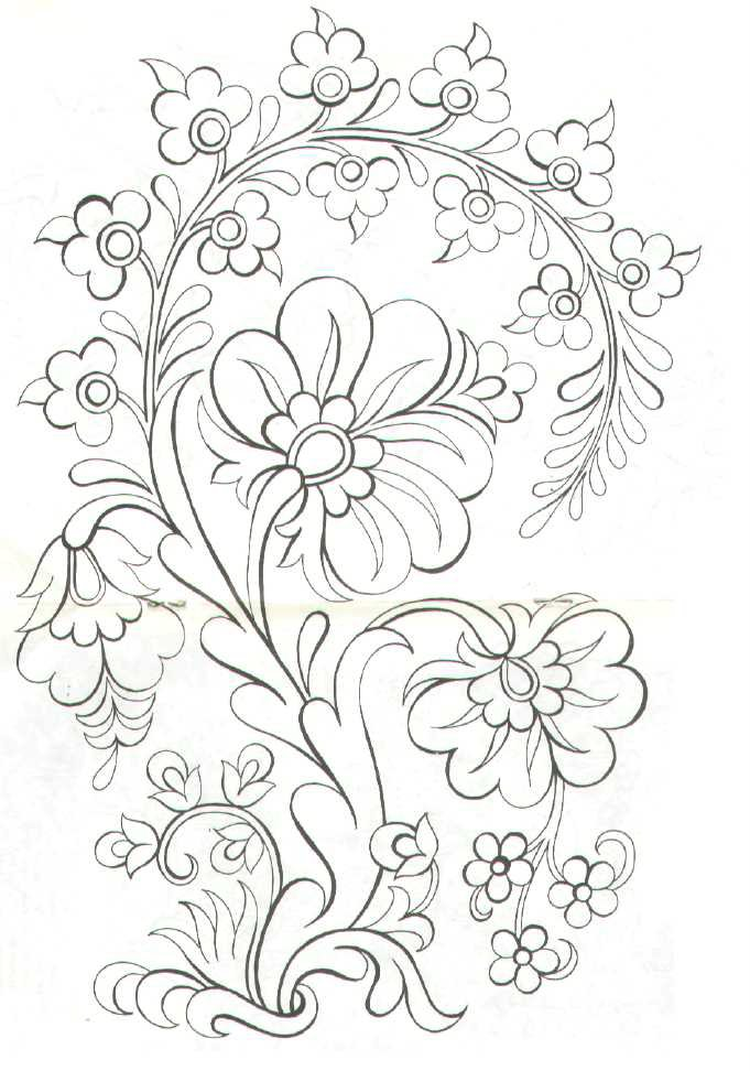 Line Drawing Flower Pattern : Beyaz zambak