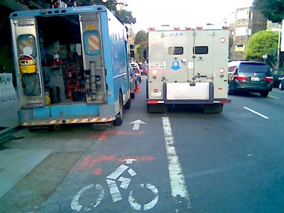 Image of Brinks Truck blocking bike lane