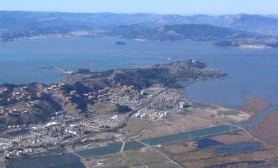 Aerial image of Chevron refinery in Point Richmond, California