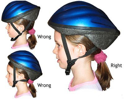 Image of bicycle helmet on a young girl