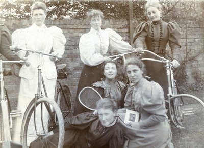 Image of Victorian bicycling women