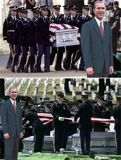 Dubya at a soldier's funeral