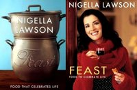 Bookcovers of the UK and US editions of Nigella's Feast