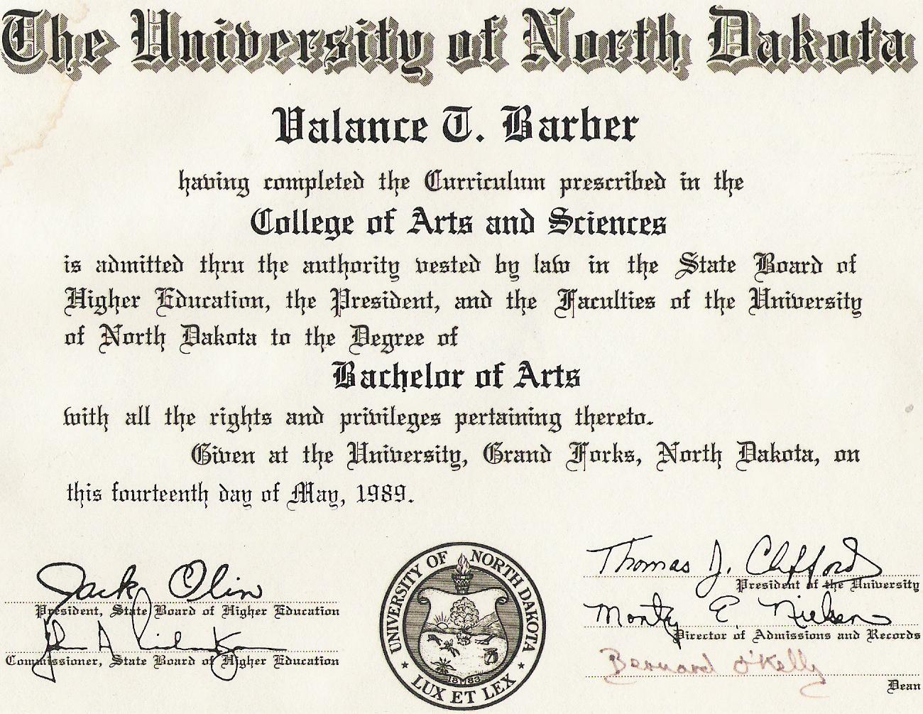 Fein University Of North Dakota Diplom Rahmen Zeitgenössisch ...