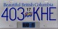 Plaque d'immatriculation de la province de Colombie Britannique au Canada