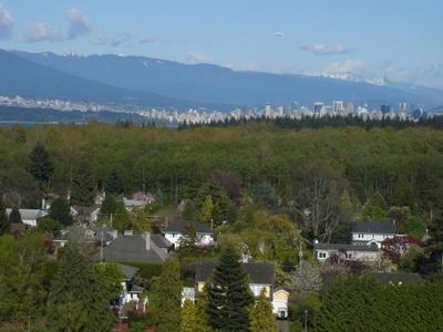 Le centre ville et la côte nord de Vancouver en arrière fond (Vancouver, Colombie Britannique, Canada)
