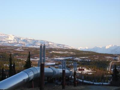 Le pipeline qui traverse l'Alaska du nord vers le sud (Alaska, USA, Amérique du Nord)