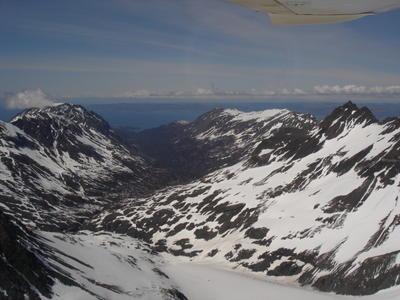 Survol de la région d'Homer (Alaska, USA, Amérique du Nord)