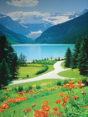 Le lac Louise à côté de Banff (Montagnes rocheuses canadiennes en Colombie Britannique - Alberta)