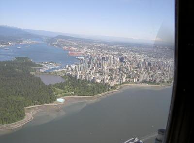 Vue aérienne de Vancouver Downtown et de son parc urbain (Vancouver, Colombie Britannique, Canada)