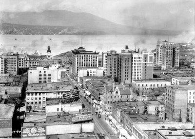 Vue aérienne du centre ville de Vancouver en Colombie Britannique, Canada