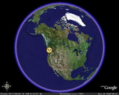 Vue aérienne de l'Amérique du Nord (Logiciel Google Earth)
