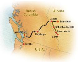 Carte de l'ouest canadien (Montagnes rocheuses canadiennes en Colombie Britannique - Alberta)