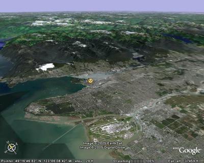 Vue aérienne de Vancouver en Colombie Britannique, Canada (Logiciel Google Earth)