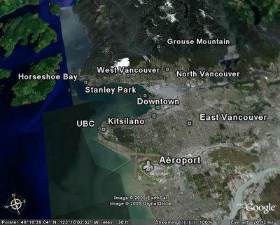 Plan des différents quartiers de Vancouver en Colombie Britannique, Canada