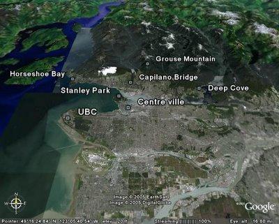 Carte des activités à faire à Vancouver en Colombie Britannique, Canada