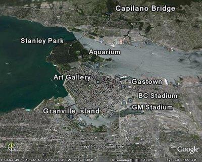 Carte des activités détaillées à Vancouver en Colombie Britannique, Canada