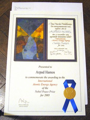 Nobel Peace Prize Certificate of Arpad Hamos