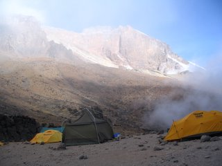 Lava Tower Camp in the mist