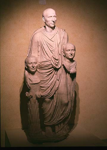 roman patrician carrying death masks of his ancestors