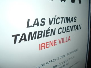 Cartel de la conferencia celebrada en Elche, Las víctimas también cuentan