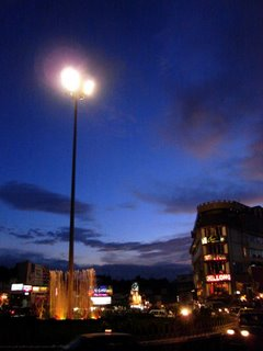 Lighting up the dusk: Shillong city centre (Police Bazar / Khyndailad) at sunset