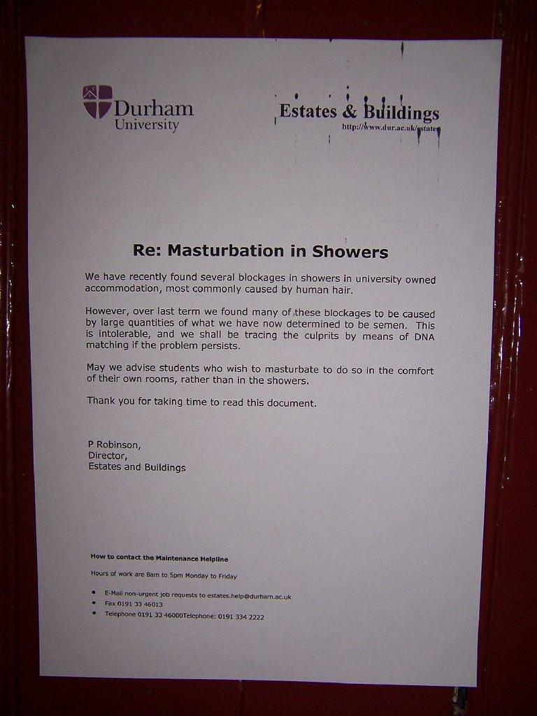 Durham masturbation letter