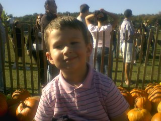 hunter in the pumpkin patch