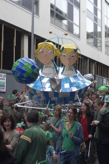 Photo of a huge papier mache float of the children's cartoon characters Charlie and Lola at the Brighton Festival children's parade