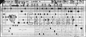 Example of a World War II Army enlistment computer punch card