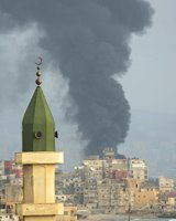 Mosque with smoke in Beiruit
