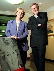 Cheryl Kernot and Gareth Evans with Kernot portrait