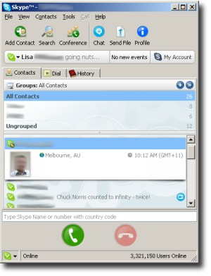 Skype 2.0 contact list screen shot