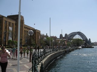 The MCA is the building on the left; the Harbour Bridge is in the background