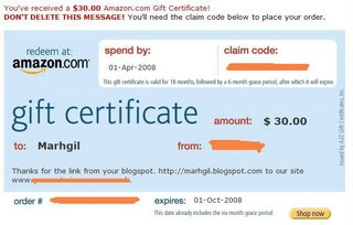 amazon gift certificate for blog links