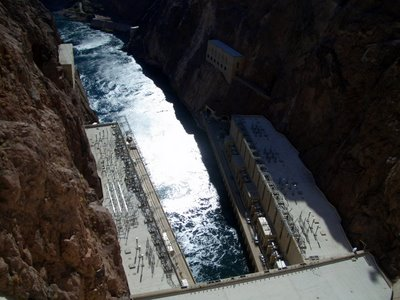 the exit side of Hoover Dam.  The water below has been fed through the turbines to generate electricity