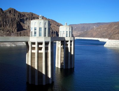 the Arizona-side intake towers and Lake Mead