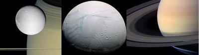 images from Cassini.  left: moon Dionne ringside; center: moon Enceladus' surface; right: Saturn