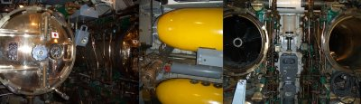 left: aft torpedo tubes, center: mark 14 torpedos, right: forward torpedo tubes