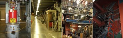 Klystrons (left) and the Large Detector (right) at SLAC, the Stanford Linear Accelerator