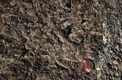 pegmatite dike with bluish quartz crystals