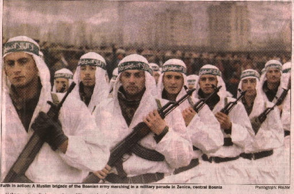 An Arab Jihadi brigade of the Bosnian Army on parade