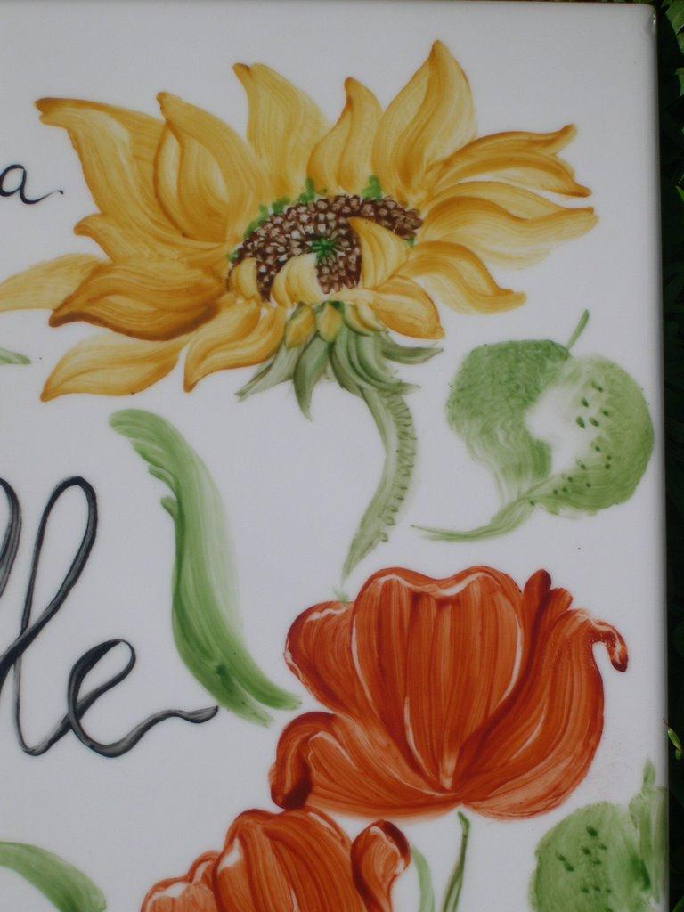 Scrap ed altro .......: una mattonella di ceramica dipinta