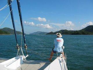 Garth enjoys cruising the islands on a Catamaran