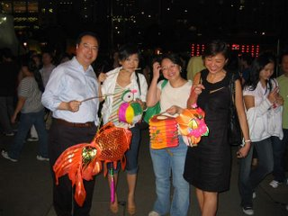 Family enjoying lantern festival