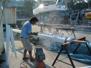 Spraying the mast