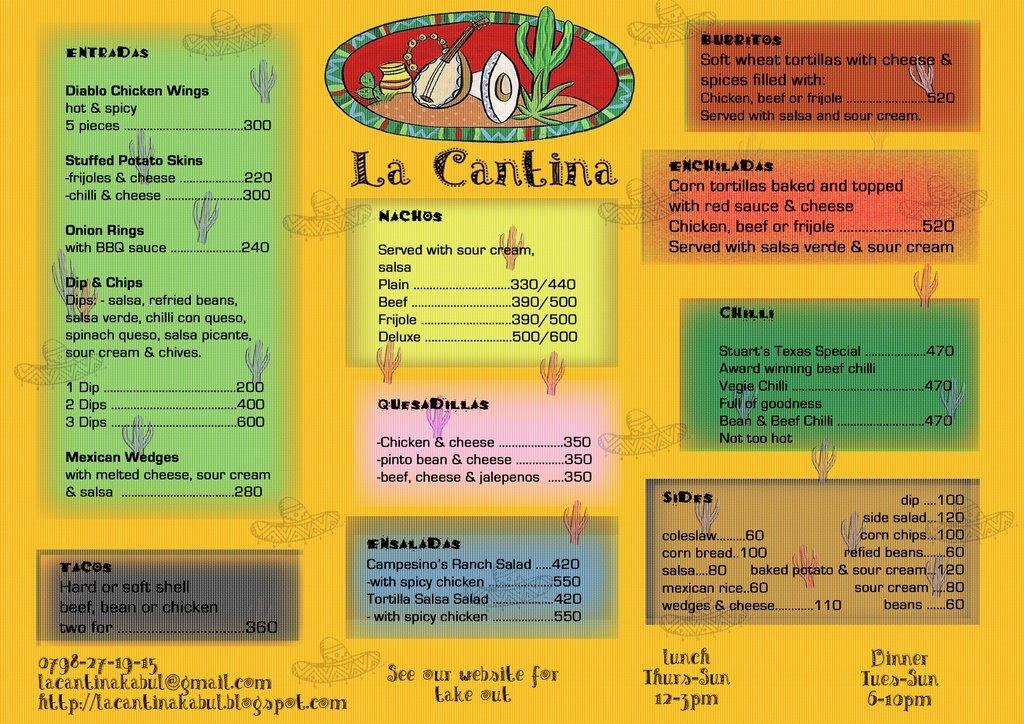 Cantina Restaurant Menu