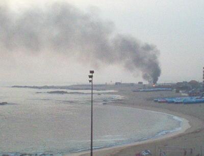 Incêndio na praia