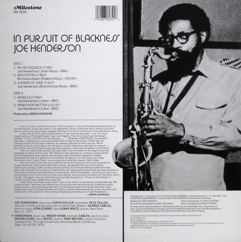 The daily jazz joe henderson in pursuit of blackness fantasy jazz now own the rights to the milestone records back catalogue and can be found on the web if you want to and you should head out and buy a copy stopboris Images